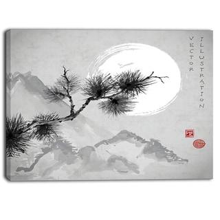 Designart - Pine Tree Branch - Japanese Canvas Art Print - Grey