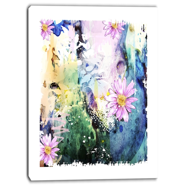 Designart - Abstract Blue Pink Floral Art - Floral Canvas Art Print