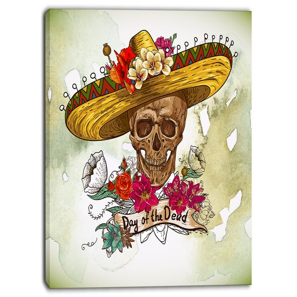Designart - Skull in Sombrero with Flowers - Digital Floral Canvas Print