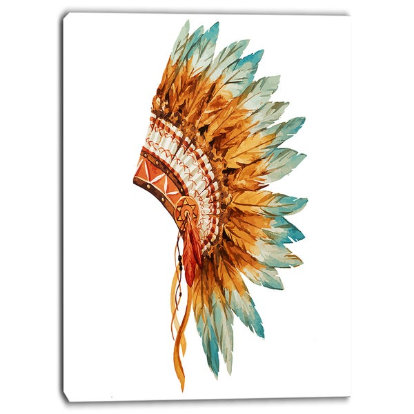 Designart - Feathers on Ethnic Skull - Digital Canvas Art Print