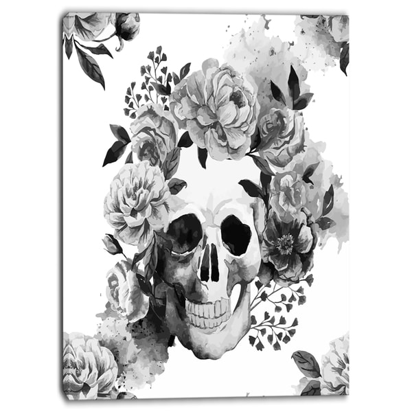 Designart - Peony Watercolor Skull - Digital Canvas Art Print
