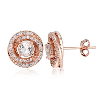 Glitzy Rocks 18k Rose Gold over Silver Morganite and White Topaz Round Stud Earrings