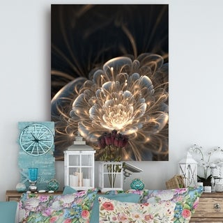 Designart - Fractal Flower with Golden Rays - Floral Canvas Art Print - Gold