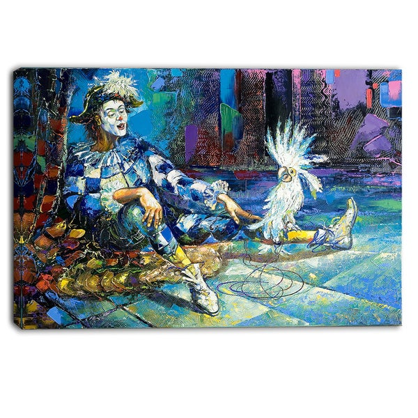 Designart - The Harlequin and White Parrot - Contemporary Canvas Print