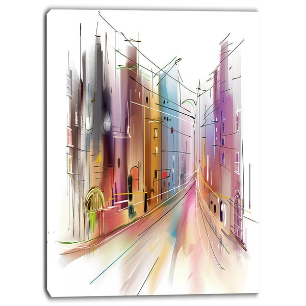Designart - Road in City Illustration Art - Cityscape Canvas Art Print