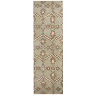 Herat Oriental Indo Hand-tufted Tibetan Light Blue/ Ivory Wool Runner (2'6 x 8')