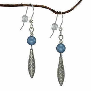 Jewelry by Dawn Blue Antique Silver Colored Long Leaf Drop Earrings