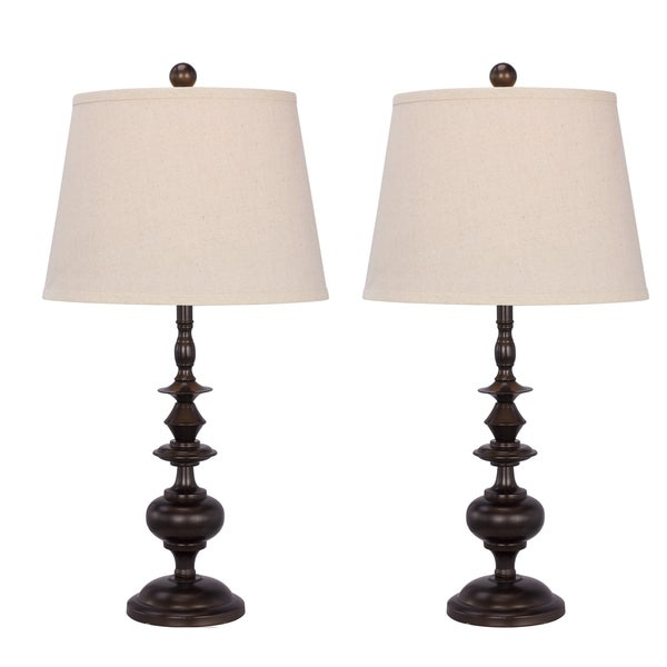 "Two 26"" Painted Bronze Metal Table Lamps For The Price Of One!"