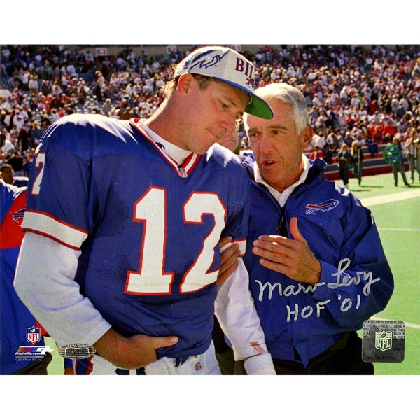"Marv Levy Signed Talking To Jim Kelly 8x10 Photo w/ ""HOF 01"" insc"