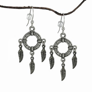 Jewelry by Dawn Circle with Feathers Pewter Dangle Earrings