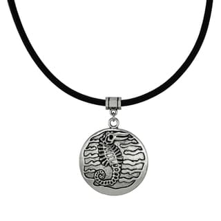 Jewelry by Dawn Unisex Pewter Seahorse Greek Leather Cord Necklace