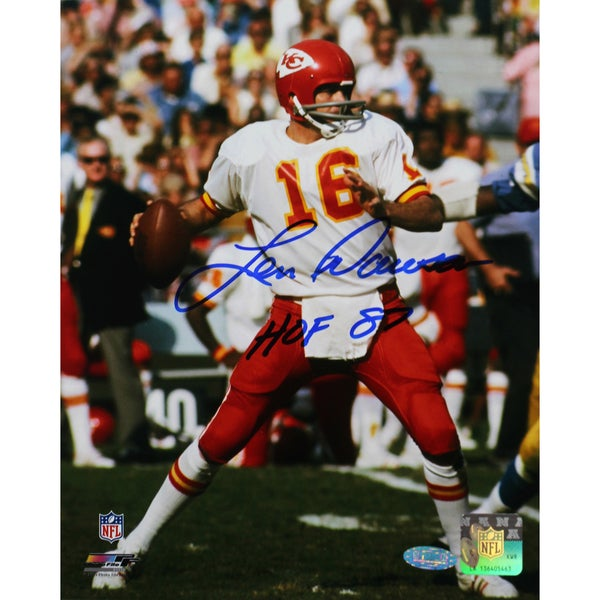 Len Dawson Signed Dropping Back 16x20 Photo w/ HOF insc