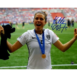 Kelley O'Hara Signed Team USA 2015 Women's World Cup Final Champions Trophy Celebration 8x10 Photo