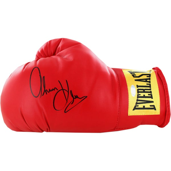 Thomas Hearns Signed Red Boxing Glove (Yellow Everlast Patch)