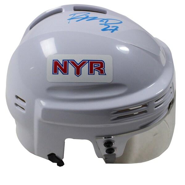 Ryan McDonagh Signed New York Rangers White Replica Mini Helmet (Signed in Sky Blue)