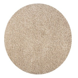 Somette Loretto Collection Natural Solid Shag Area Rug (5.3' x 5.3')
