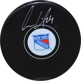 Oscar Lindberg Signed New York Rangers Puck