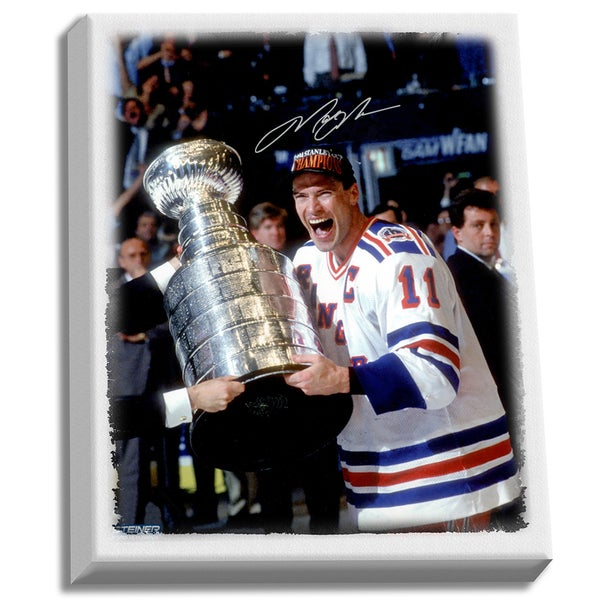 Mark Messier New York Rangers Signed 'Hugging Stanley Cup' 20x24 Canvas 17298361