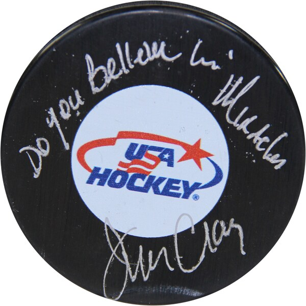 """Jim Craig Signed USA Hockey Puck w/ """"Do You Believe In Miracles"""" Insc."""