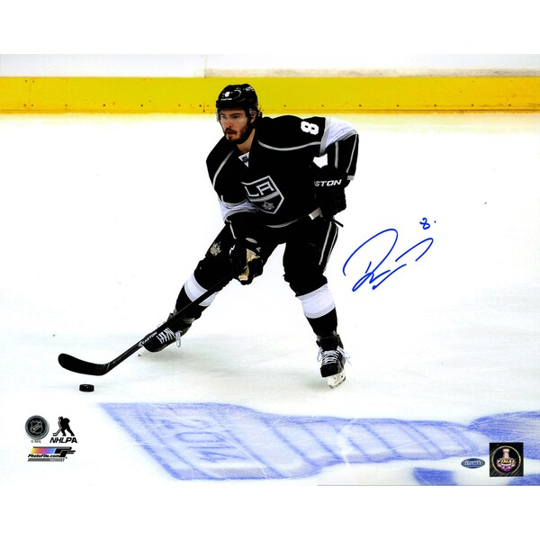 Drew Doughty Signed Los Angeles Kings Skating by 2014 Stanley Cup Logo on Ice 16x20 Photo 17298465