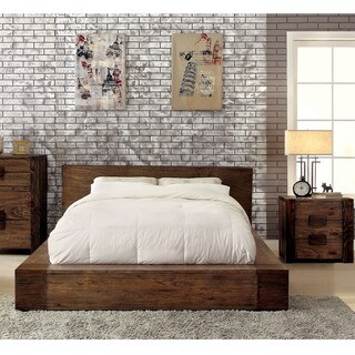 Furniture of America Shaylen I Rustic 2-piece Natural Tone Low Profile Bed and Nightstand Set