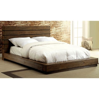 Furniture of America Emallson Rustic Natural Tone Low Profile Bed