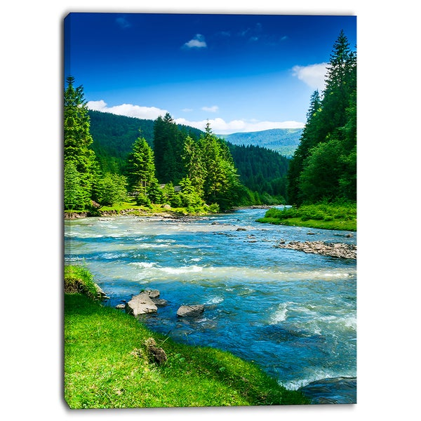 Designart - Blue Mountain River Photography Canvas Print