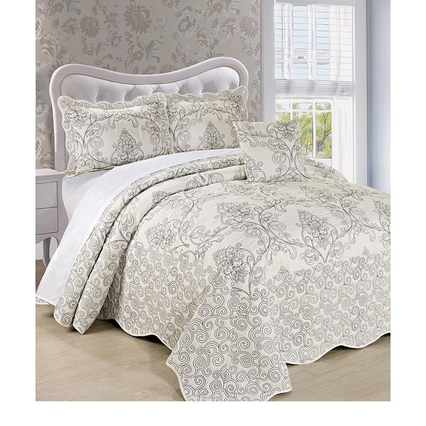 BNF Home Damask 4-piece Bedspread Set