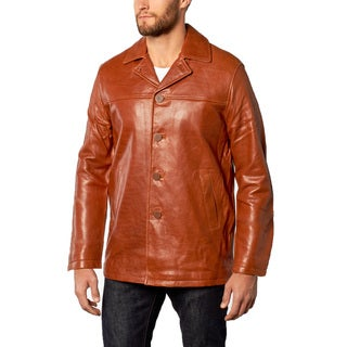 Men's Cognac Pebble Lamb Leather Car Coat