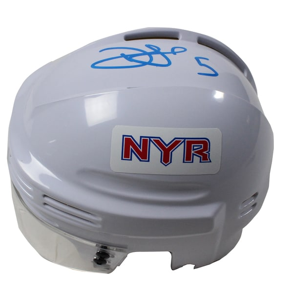 Dan Girardi Signed New York Rangers White Replica Mini Helmet (Signed in Sky Blue) 17298745