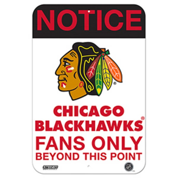 Chicago Blackhawks Fans Only 8x12 Aluminum Sign