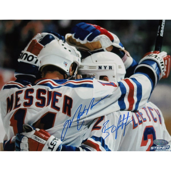 Brian Leetch/Mark Messier Dual Signed Team Huddle Signed 8x10 Photo 17298788