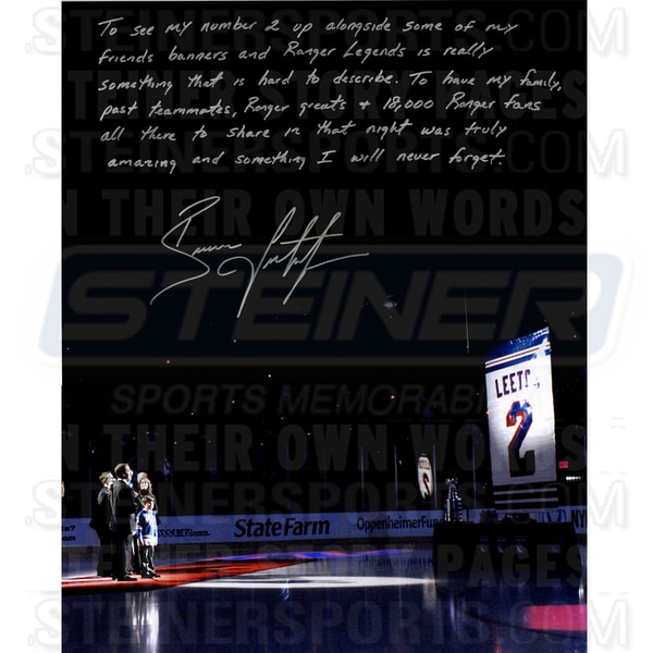 Brian Leetch Signed 16x20 Retirement Night 16x20 Story Photo 17298822