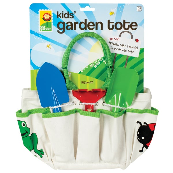 Toysmith Kids' Garden Tote with Trowel, Rake and Shovel