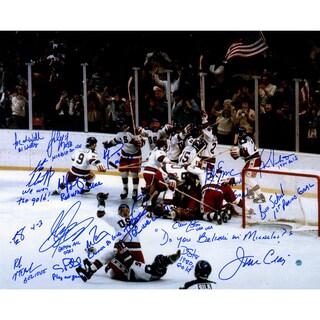 1980 USA Hockey Team Signed 16x20 Photograph w/ Inscriptions (17 Signatures)