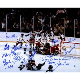 """1980 USA Hockey Team Signed 16x20 Photograph w/ """"Do You Believe in Miracles"""" Insc. (17 Signatures)"""