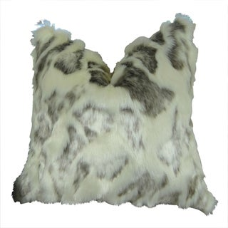 Plutus Ivory Faux Rabbit Fur Handmade Double-sided Throw Pillow