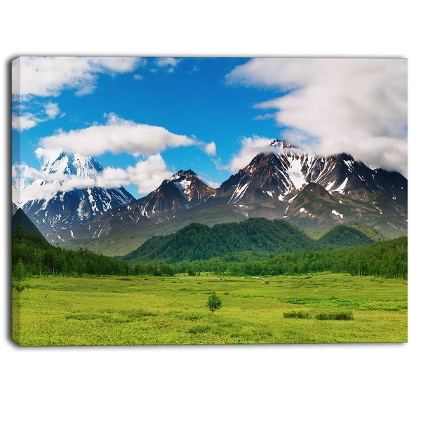 Designart - Snowy Volcanoes - Landscape Photo Canvas Print