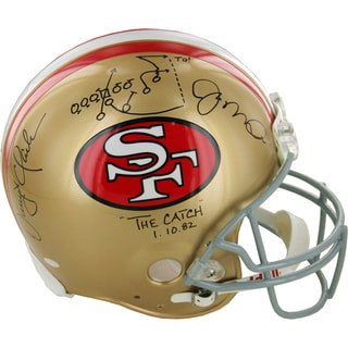 Joe Montana and Dwight Clark Dual Signed San Francisco 49ers Proline Helmet w/ the play insc