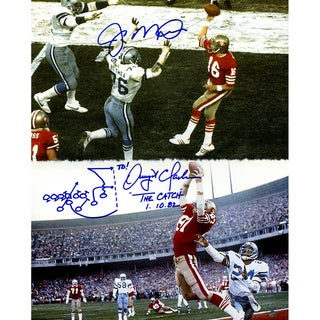 "Joe Montana & Dwight Clark Dual Signed ""The Catch"" 16x20 Vertical Photo w/ ""Drawn Play"" Insc."