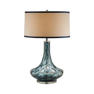 Blue Thumb Print Glass Table Lamp