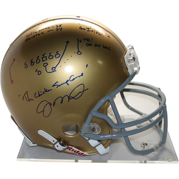 Joe Montana/Kris Haines Signed Chicken Soup Game Helmet (L/E of 79) 17299580