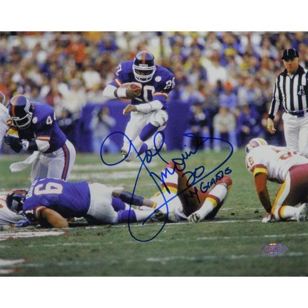"Joe Morris Leap Thru Middle Horizontal 8x10 Photo w/ ""NY Giants"" Insc."