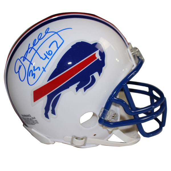 "Jim Kelly Signed Buffalo Bills White Mini Helmet w/ ""35,467 Yds"" Insc."