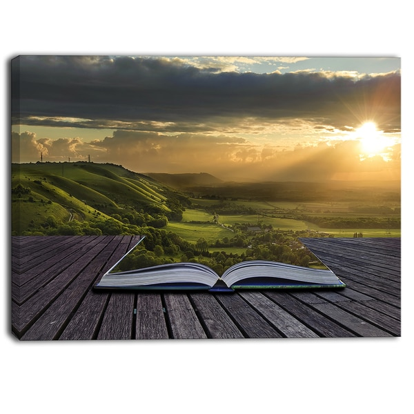 Designart - Open Book to Green Valley Digital Art- Landscape Canvas Print
