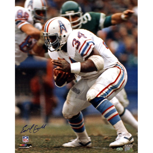 Earl Campbell Signed Houston Oilers Running White Jersey 16x20 Photo