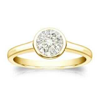 Auriya 14k Gold 1/2ct TDW Round-Cut Diamond Solitaire Bezel Ring (J-K, I1-I2)