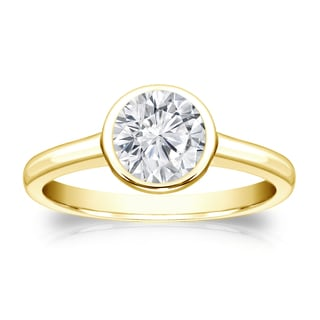 Auriya 14k Gold 3/4ct TDW Round-cut Diamond Solitaire Bezel Engagement Ring (H-I, VS1-VS2)