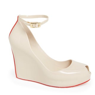 Melisssa Women's 'Patchuli' Beige and Red Jelly Ankle Strap Wedge Shoes
