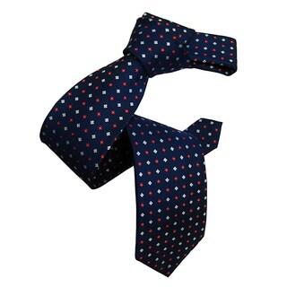 Dmitry Men's Blue Patterned Italian Silk Tie